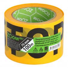 "Įspėjamoji juosta ""STOP"" 75 mm x 100 m, geltona, ZOOM"