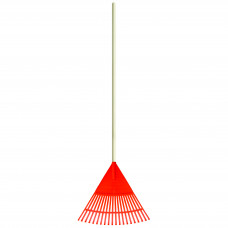 """QR Grėblys """"vėduoklė"""" plast. P=48cm su med.kot.L=1,4m, VERTAS (RG2)"""