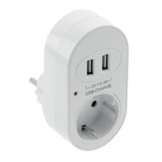 Elektros lizdas su įžeminimu + 2 USB jungtys 5V, 3,4A