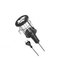 Pernešamas šviestuvas, E27, 5m, juodas, guminis su metalinėmis grotelėmis