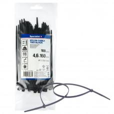 Dirželis nailon. juodas 4,6x160mm,100vnt