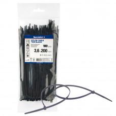Dirželis nailon. juodas 3,6x200mm,100vnt