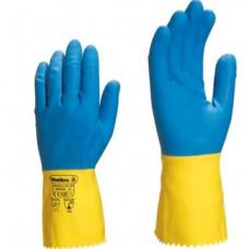 Lateksinės piršt. mėlynos/geltonos 9 dyd.