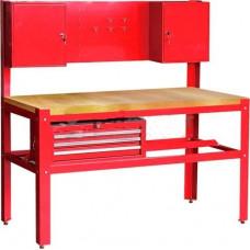 Darbastalis su spintelėmis ir 3 stalčiais raudonas